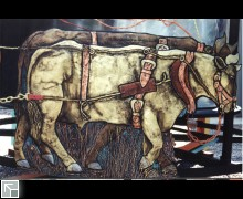 The oxen pull the plow